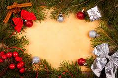 Retro Paper Christmas Decorations - vintage paper with christmas decoration around stock photo image