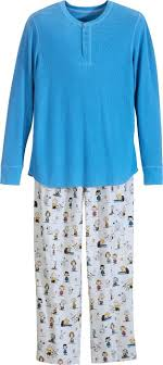 mens flannel pajamas with henley top brown print
