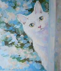white cat oil painting portrait gift for mom mother u0027s day gift