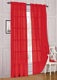 amazon window drapes amazon com 2 piece solid red sheer window curtains drape panels