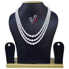 elegant white pearl necklace images 4mm to 8mm white oval graded aaa quality 3 lines elegant oval jpg