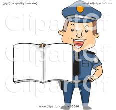 clipart of a cartoon caucasian police man holding out a book