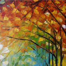 100 hand painted modern abstract oil painting on canvas for living room wall art pictures vibrant autumn street trees painting in painting calligraphy
