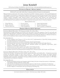 Project Manager Resume Template Financial Project Manager Resume Sample Featuring Work History And