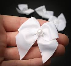 pre bows pretied white satin bows scrapbooking craft supplies