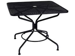 Wrought Iron Patio Table And Chairs Woodard Mesh Wrought Iron 36 Square Table With Umbrella Hole In
