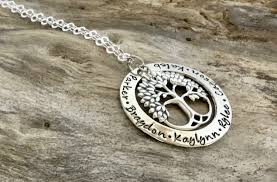 Personalized Family Necklace Personalized Family Tree Necklace Hand Stamped Jewelry Family