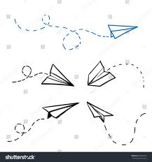 vector paper airplane travel route symbol stock vector 638364670