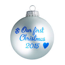 our first christmas 2015 silver christmas tree bauble