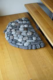 Half Circle Rugs Felt Carpet Door Mat Sheep Wool Felt Stone Rug Home Decor