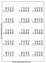 4 digit subtraction with regrouping u2013 borrowing u2013 9 worksheets