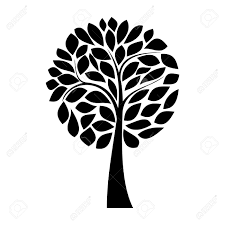 simple black tree silhouette on white background royalty free