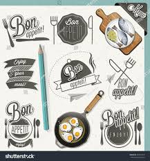 bon appetit enjoy your meal retro stock vector 243093319