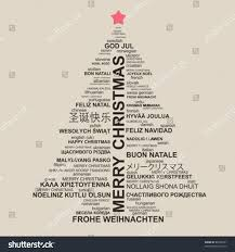 christmas tree shape letters typographic composition stock vector