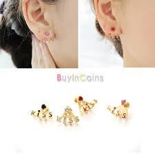 korean earings 1 pair women girl korean style new fashion letters rhinestone