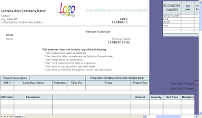 Free Construction Estimate Template Excel Construction Estimate Template Invoice Software