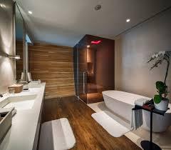 sleek bathroom glass shower pink lighting iniala beach house in