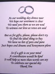 brand new wedding poem cards money gift ask for money