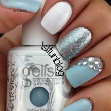 baby blue nails with rhinestones by lyubomira s preen me