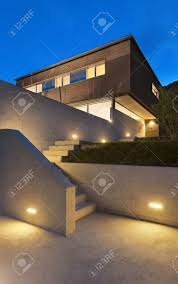 architecture modern design beautiful house night scene stock