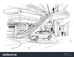fashion store hand drawn sketch interior stock vector 506817610