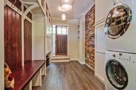 fake brick wall panels laundry room traditional with barn door