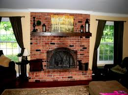traditional contemporary living room with brick fireplace and