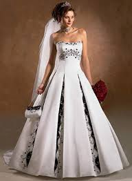 and white wedding dresses black and satin white embroidered wedding gown with pendant