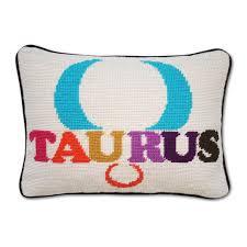 taurus zodiac needlepoint throw pillow 9 x 12 jonathan adler