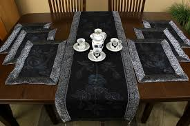 table runner or placemats hand painted 7 piece placemat table runner set banarsi designs