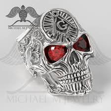 masonic mason skull ring with stones in 925 sterling silver