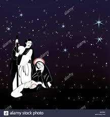christmas nativity scene under starry night sky stock photo