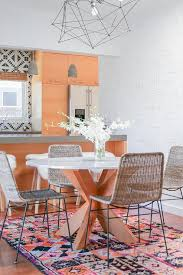 Orange Kitchen Tiles - orange kitchen cabinets with cement tiles contemporary dining room
