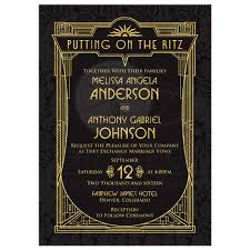 black and gold wedding invitations deco wedding invitation black gold roaring 20s gatsby style