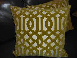 schumacher throw pillows imperial trellis cut velvet fabric in