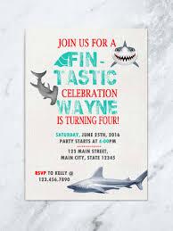 shark birthday invitation shark invite fin tastic shark birthday