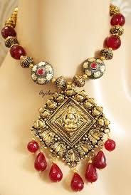 antique necklace set images Maroon necklace set antique gold lakshmi ganesh pendant at 2950 jpg