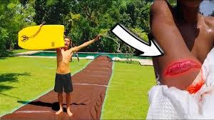 insane backyard slip and slide gone wrong youtube