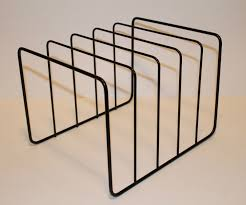 vintage lp metal wire storage rack stand holder 1950s holds 50