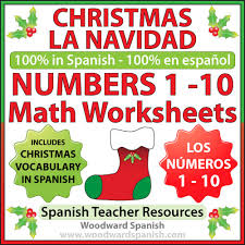 christmas math worksheets in spanish u2013 numbers 1 to 10 woodward