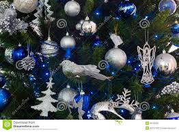 blue and silver decorations of christmas tree stock image image