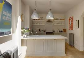White Kitchen Design Ideas With Pendant Lamp And White Open