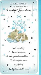 baby card new baby grandson card baby boy congratulations on the birth of