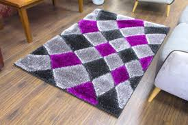 supreme shaggy rug grey purple 4032