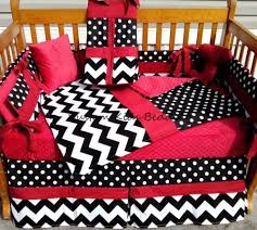 Minky Crib Bedding White Polka Dot And Chevron W Minky Crib Bedding Set