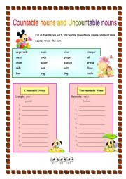 Count And Noncount Nouns Exercises Elementary Countable Nouns And Uncountable Nouns