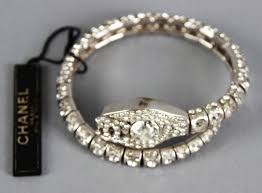 crystal snake bracelet images Chanel diamant crystal logo snake serpent metal bracelet jpg