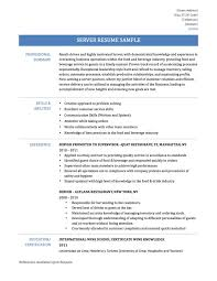 Restaurant Server Job Description For Resume by Server Resume Example Professional Administrative Assistant