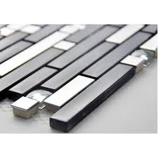 Buy Stainless Steel Backsplash by Black And Silver Metal Glass Mosaic Sheets Crystal Diamond Tile