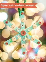 create popsicle stick snowflake ornaments for